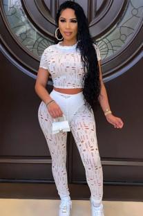 Conjunto de calça e blusa de verão sexy branco sexy oco para fora