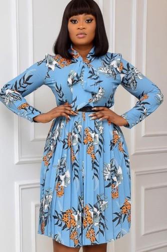 Плиссированное платье с плиссированным принтом Autumn Office Professional