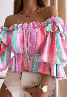 Herbst Casual Tie Dye Pink Trägerloses Schößchen Crop Top