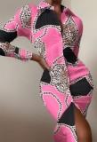 Осеннее формальное розовое платье-блузка с леопардовым принтом и длинными рукавами