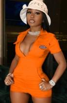 Summer Casual Zipper Up Short Sleeves Orange Cargo Rompers