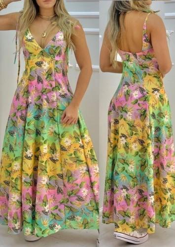 Летний длинный макси-сарафан с низкой спинкой и цветочным принтом