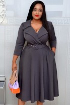 Autumn Grey Office Professional Long Skater Dress with Belt