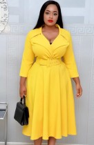 Autumn Yellow Office Professional Long Skater Dress with Belt