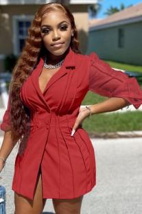 メッシュスリーブの秋のカジュアルな赤いブレザードレス
