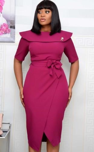 Осеннее офисное профессиональное платье миди с запахом и поясом Фиолетовый