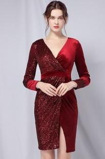 Vestido de festa formal de lantejoulas com remendo vermelho outono