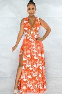Summer Plus Size Print Sleeveless Slit V-Neck Long Maxi Sundress