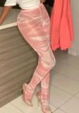 Stampa estiva Vedere attraverso leggings da festa a vita alta sexy