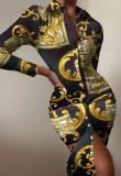 Осеннее официальное платье-блузка миди в стиле ретро с длинными рукавами