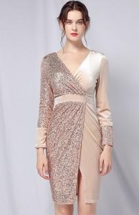 Vestido de festa formal de lantejoulas com remendo dourado de outono