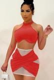 Summer Sexy Red Patch Halter Crop Top e Minigonna Set