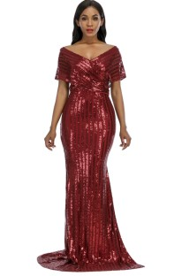 Летнее официальное длинное вечернее платье с V-образным вырезом и красными пайетками