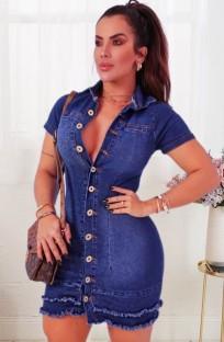 Летнее синее облегающее джинсовое платье на пуговицах с эффектом потертости