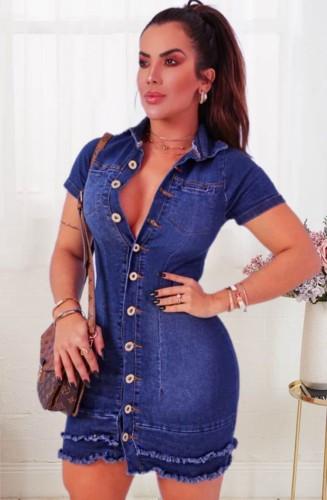Summer Blue Distressed Button Up Denim Bodycon Dress