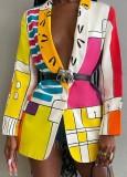Blazer lungo a blocchi di colore con colletto alla rovescia casual autunnale