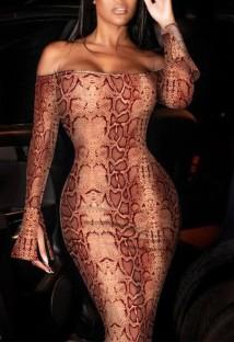Элегантное платье миди с открытыми плечами и принтом змейки Autumn