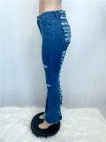 Jeans sexy strappati blu a vita alta estivi