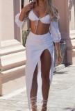 Set di top corto sexy bianco autunnale e gonna lunga irregolare