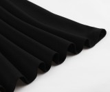 Abito skater vintage nero elegante estivo con maniche a rete a pois
