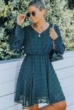 Vestito a pieghe con scollo a V floreale casual autunno verde