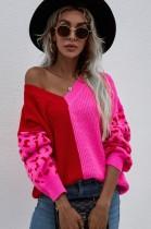 Suéter con cuello en V y bloque de color otoñal con mangas de leopardo