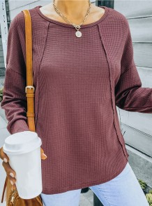 Camicia regolare a maniche lunghe autunno casual Burgunry