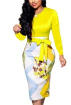 Autumn Professional Print Office Midi Dress with Belt