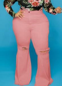 Herbst-Pink-Jeans in Übergröße mit hoher Taille und zerrissenen Flare