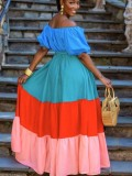 Abito lungo formale con spalle scoperte color block estivo Block