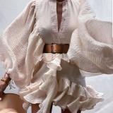 Autunno formale beige maniche a sbuffo Ruffles abito corto con cintura