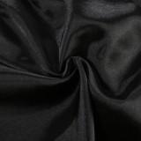 Set pigiama da 2 pezzi Summer Plus Size in raso nero con gilet e pantaloncini