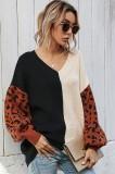 Maglione pullover con scollo a V color block autunnale con maniche leopardate