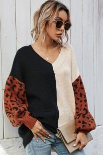 Herbst-Farbblock-Pullover mit V-Ausschnitt und Leopardenärmeln