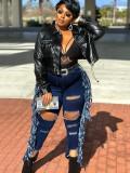 Jeans con nappe strappati a vita alta taglie forti autunnali