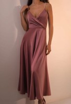 Sommer formales elegantes rosa Träger langes Skaterkleid