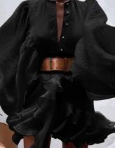 Herbst formales schwarzes Puffärmel-Rüschen-Kurzkleid mit Gürtel