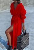Camicetta lunga rossa casual autunnale con cintura