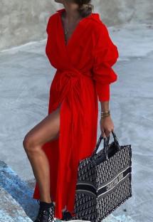 Осеннее повседневное красное длинное платье-блузка с поясом