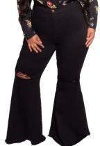 Herbst-Übergröße – Schwarze, zerrissene Flare-Jeans mit hoher Taille