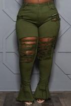 Herbst-Plus Size – Grüne, zerrissene Flare-Jeans mit hoher Taille