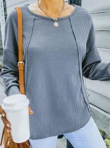 Camicia regolare a maniche lunghe grigia casual autunnale