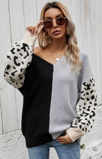 Autumn Color Block V-Neck Pullover Sweater with Leopard Sleeves