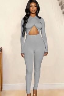 Tuta basic sexy a maniche lunghe con cut-out grigio autunnale