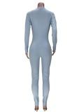 Tuta di base sexy a maniche lunghe con cut-out blu autunnale