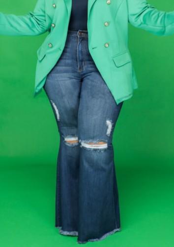 Sonbahar Büyük Beden Mavi Yüksek Bel Yırtık Flare Jeans