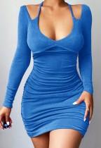 Herbst Blau Lila Sexy gerafftes Minikleid mit vollen Ärmeln