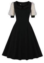 Sommer Elegantes Schwarzes Vintage Skaterkleid mit Polka Mesh Ärmeln