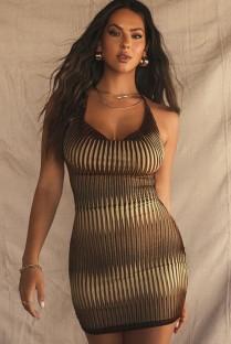 Летнее сексуальное облегающее мини-платье с принтом на бретелях