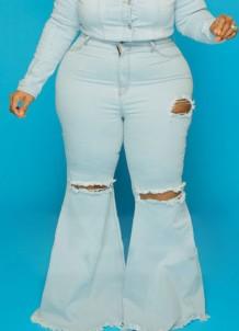 Herbst – Blaue, zerrissene Flare-Jeans in Übergröße mit hoher Taille